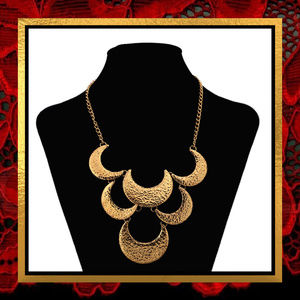 Golden Crescent Statement Necklace #JWL-774